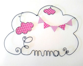 """""""Head in clouds"""" personalized wire name decor for child's room wall cloud"""