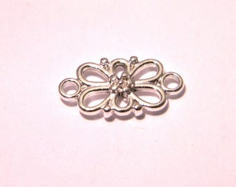 50 links connectors 16 mm - pendant - bright silver floral pattern - F9