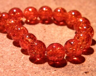 50 8 mm - dark orange - PF63 Crackle glass beads