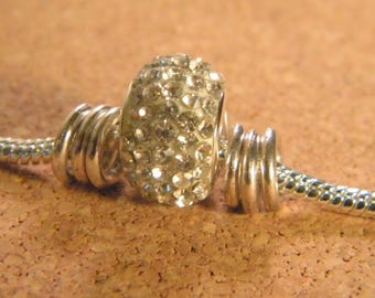 Pearl rhinestone to pandor style bracelet European @ - silver - 15 x 10 mm each-B-06