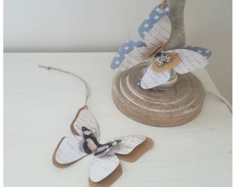 2 tags paper butterflies vintage Shabby Chic hanging
