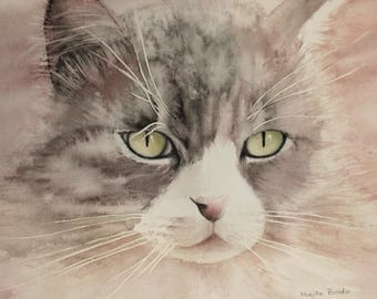 """Watercolor """"Nika cat"""" unique and original, painted in Provence, France, watercolor"""