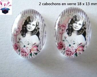 2 glass cabochons 18mm x 13mm vintage theme
