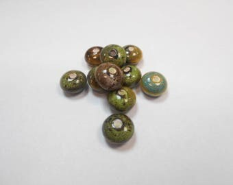 10 ceramic beads size 12 mm by 7 mm set number 2