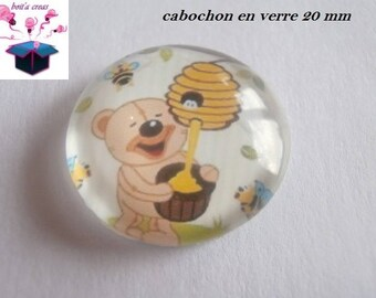 1 cabochon clear 20mm Teddy bear theme