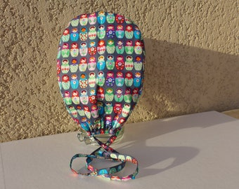 """Hat pattern """"Russian dolls"""" multicolored on the bottom grey charcoal block"""