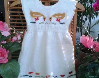 BABY girl 6 months dress white pattern wool duck