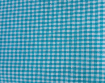coupon 3 meter turquoise gingham fabric