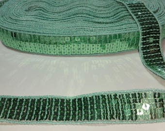 braid sequin green color of water