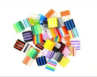 10 multicolored striped square resin cabochons