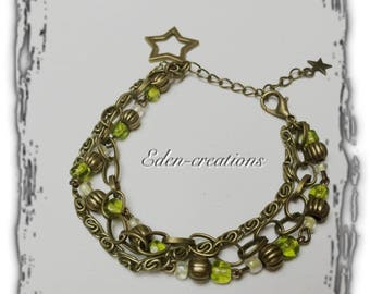 Green and bronze ethnic bracelet, beads and chains, Star, retro bracelet charm