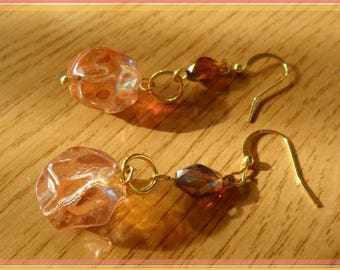 Pink and Brown plastic faceted pearl earrings and bright