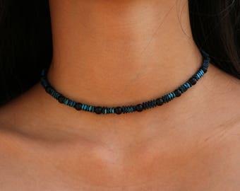 "Blue Iridescent Black Pearl Choker / ""Raven"""