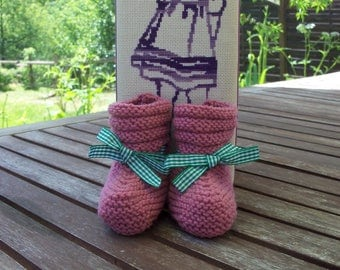 Hand knitted baby booties wool 100% Merino 3 to 6 months
