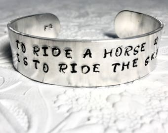 Horse Lover Bracelet, To Ride a Horse Is To Ride The Sky Bracelet, Cowgirl, Equestrian Jewelry