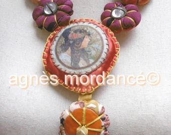 "Textile ""Mucha"" - OOAK necklace"