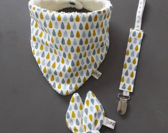 Baby bib, Rattle and pacifier drop pattern gift box