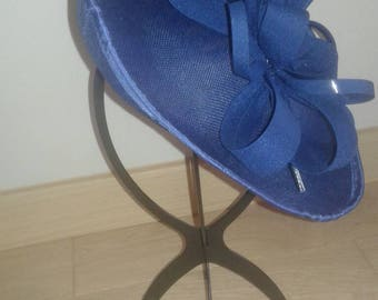 fascinator hat in formal Navy Blue