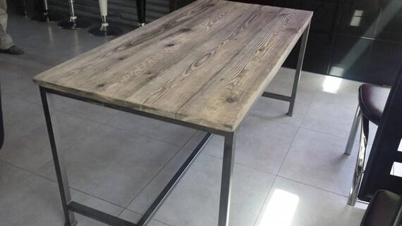 Meuble industriel table de salle manger structure en acier - Faire une table industrielle ...