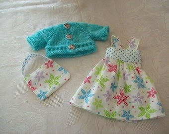 clothes for cherished dolls (dress in printed cotton, vest, bag)