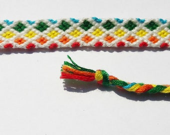 Friendship bracelet rainbow pattern