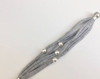 Recycled cotton Hooked bracelet and 4 beads