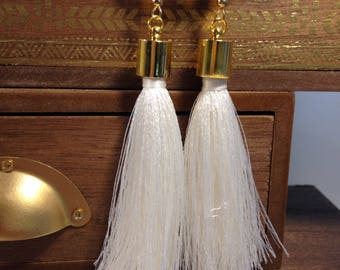White silk tassel earrings