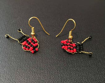 Ladybird earrings weaving of pearls on gilded stems Créaxy