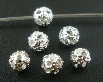 50 beads spacer spacer frosted silver 4mm dia.