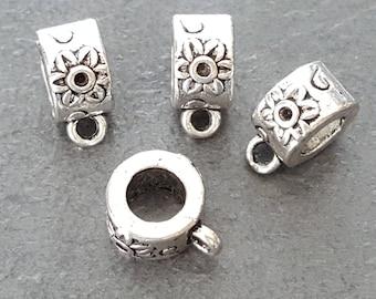 x 6 bails 10x6mm Silver flower pattern