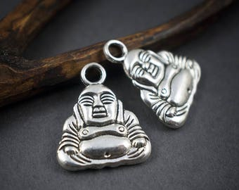 2 pcs - large silver metal Buddha • 20mm x 16mm charms