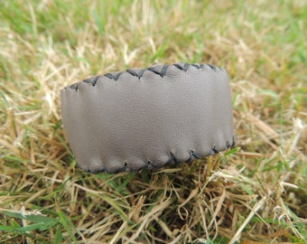 hand sewn gray leather bracelet