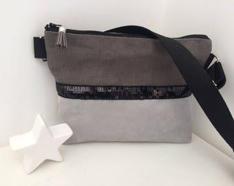 suedine /pochette shoulder bag + linen and glitter