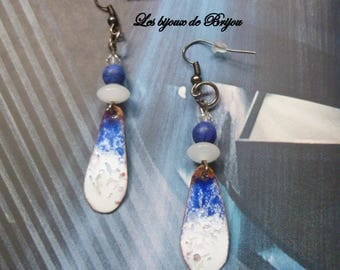 Enameled metal and glass bead, blue and white howlite earrings