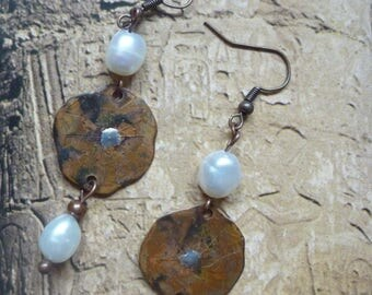 Rustic earrings copper metal and freshwater pearls