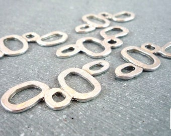 geometric 5 connectors in silver, 35x15mm (co39)