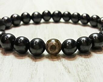 shungite bracelet evil eye bracelet mens bracelet for men women beaded bracelet protection stone shungite healing jewelry amulet beads 8 mm