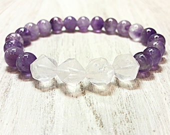 anxiety bracelet anxiety relief bracelet anti anxiety amethyst & rose quartz bracelet spiritual  jewelry healing crystals bracelet beads