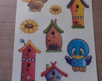 sheet of 9 stickers depicting birds and birdhouses pure cardmaking or scrapbooking