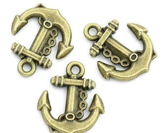 set of 2 charms anchor 18x15.5 mm bronze