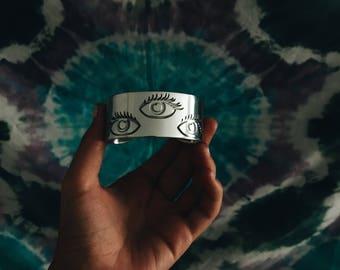 All Seeing - metal cuff bracelet