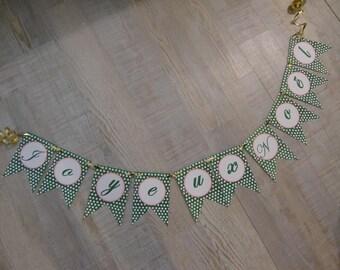 "Banner ""Joyeux Noël"" - green dots"