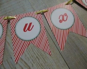 "MINI-Banderole ""Joyeux Noël"" - red stripes"