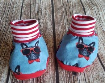 "Baby boots made of fabric ""Midi"" French Bulldog"