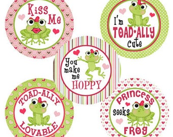 Froggy Love INSTANT DOWNLOAD Images for Bottle Caps 4x6
