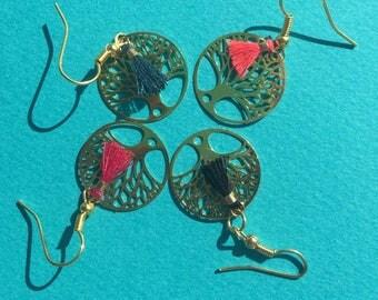 Golden tree of life gold earrings