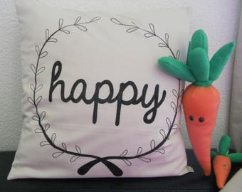 """Pillow cover """"happy"""" 40 x 40, 100% cotton natural"""