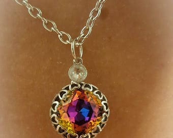Pre-Order....Cushion Cut Crystal Pendant Necklace with Aluminum