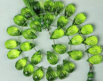 10 inch long strand faceted Teardrop Peradot Colour Quartz Briolette Beads 5 x 8 -- 6 x 10.5 mm approx [ T 120 ]