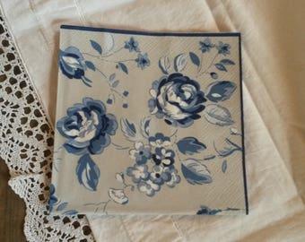 "33 X 33 cm pattern blue flowers ""greengate"" paper towel"